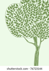 Green card with stylized tree