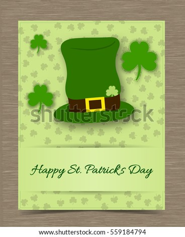 green card template shamrock clover hat stock vector royalty free