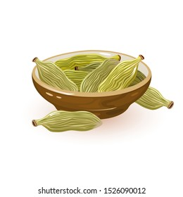 Green cardamom or cardamon pods are in ceramic bowl and near it. Spice having strong, unique taste, with an intensely aromatic, resinous fragrance. Vector cartoon illustration isolated on white.