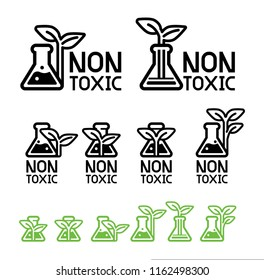 Green care and non-toxic from science technology(icon concept). Environmental chemistry are already certified safety for user product. Eco chemical symbol.