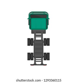 Green cargo truck chassis, automobile for goods carriage, cargo delivering vehicle, top view vector Illustration