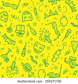 Green carnival symbols in doodle style on yellow background, vector seamless pattern