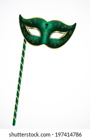 Green carnival theatrical mask with gold ornament with handle isolated on white background, vector illustration
