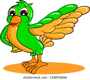 Green cartoon bird pulled feathered wing to the side on white background. Isolated vector illustration.