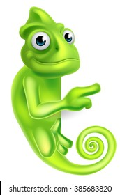 A green cartoon chameleon lizard character mascot pointing at a sign board