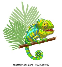 Green cartoon chameleon is sitting on branch and looking. Thoughtful and lazy wild life. Reptile on a white background. Vector illustration. Can be used for fashion print design.
