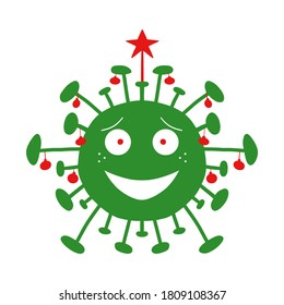 Green cartoon coronavirus bacteria with red christmas tree balls and star on the top. Isolated on white background. Vector stock illustration.