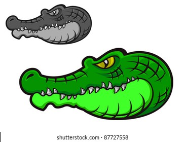 Green cartoon crocodile head for tattoo or mascot design. Rasterized version also available in gallery