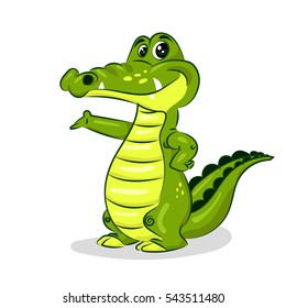 green cartoon crocodile at the white background