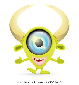 Green Cartoon cute monster isolated on white