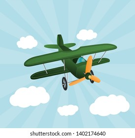 Green cartoon plane flying over sky with clouds. Old retro biplane designed for poster printing. Model aircraft, two wings.