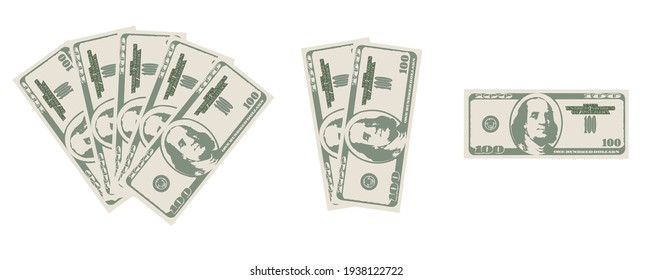 Green cash on white background. Green 100 dollar bill. A wad of money vector illustration. Banknote.