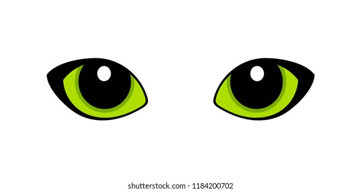 Green cat eyes isolated on white background. Vector illustration