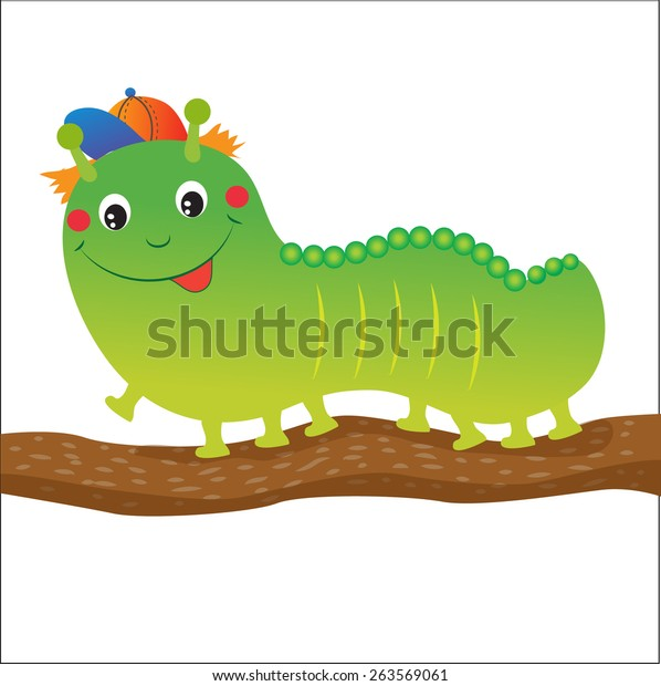 Green Caterpillar Cartoon Vector Illustration On Stock Vector