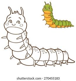 Green caterpillar - coloring book