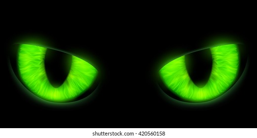 Green cats eyes isolated on a black background. Stock vector illustration.