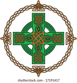 Green celtic cross and ancient gothic ornament