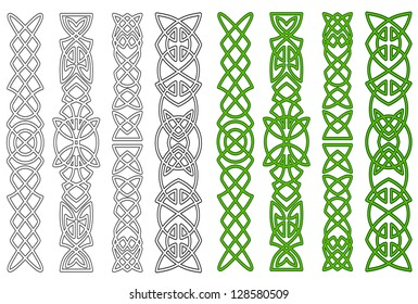 Green celtic ornaments and elements for medieval embellishments. Jpeg version also available in gallery