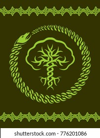 Green celtic pattern with stylized tree and snake