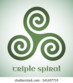 Green Celtic triple spiral with gradient