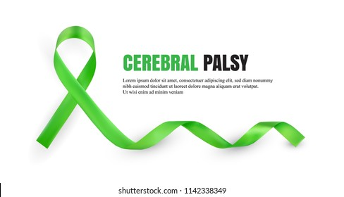 Green Cerebral Palsy Awareness Symbolic Satin Ribbon Isolated on White Background with Place for Text. Realistic 3d Vector Illustration
