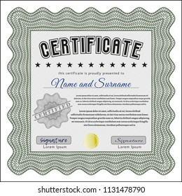 Green Certificate of achievement. With complex linear background. Vector illustration. Money Pattern.