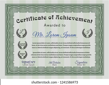 Green Certificate of achievement. Nice design. With guilloche pattern and background. Detailed.