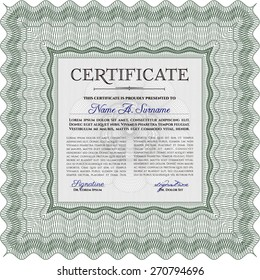 Green Certificate / Diploma of completion / Design template.