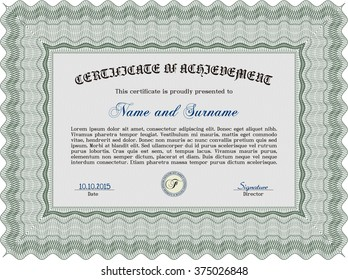 Green Certificate or diploma template. Cordial design. Customizable, Easy to edit and change colors. Easy to print.