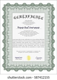 Green Certificate template or diploma template. Lovely design. With complex linear background. Detailed.