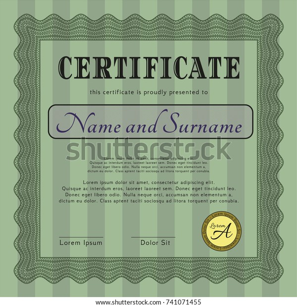 Green Certificate Template Diploma Template Retro Abstract
