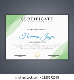 Green Certificate template in vector for achievement, Certificate Design Template in Modern Style - vector
