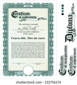 Green certificate template. Vertical. Additional design elements.