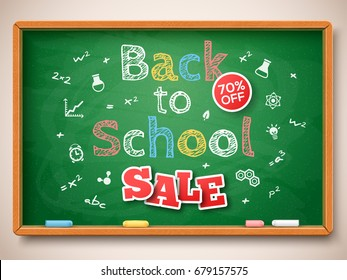 Green chalkboard with Back to school Sale lettering. Vector illustration. Education and science design