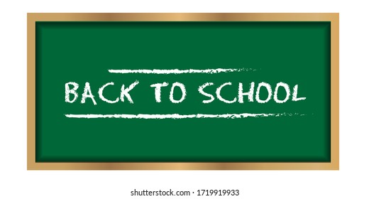 Green chalkboard with back to school text. Editable color. Perfect for sales banner or poster, school theme, template, etc.