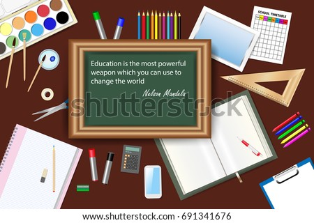 Green Chalkboard Famous Quote Nelson Mandela Stock Vector Royalty