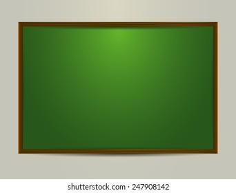 Green chalkboard on grey background, vector eps10 illustration