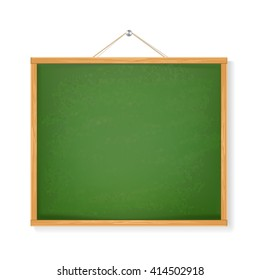 green chalkboard with shadow isolated over white background. vector