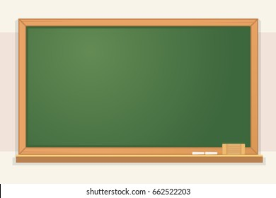 Green chalkboard with text space flat cartoon character illustration