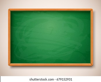 Green chalkboard. Vector illustration. Object  for back to school, education and science design