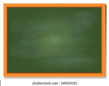 green chalkboard vector illustration with wood frame and blank green board template