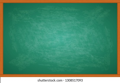 Green chalkboard and wooden frame, rubbed out dirty chalkboard. Clipart black boardr illustration isolated on white background