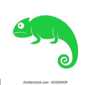 Green chameleon. Abstract chameleon on white background. EPS 10. Vector illustration