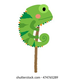 Green Chameleon animal cartoon character isolated on white background.