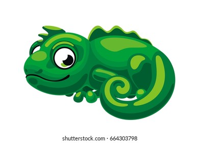 Green chameleon, cartoon character, vector design, fun art