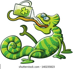 Green chameleon projecting his long and sticky tongue, holding a glass and drinking green beer to celebrate St Patrick's Day while seated