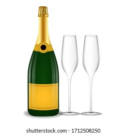 Green champagne bottle with gold foil on an isolated white background. Champagne glasses.Illustration for web, poster, invitation to party. Stock vector illustration.
