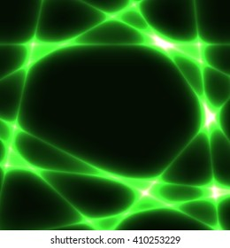 green chaotic lines on dark background. Template with green laser lines. Place for your text in centre.