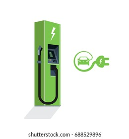 Green charging station for electric car. Isolated flat vector charging power station illustration on white background with electricity battery sign, cable and plug. Electromobility e-motion concept.