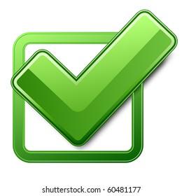 Green check box with check mark. Vector illustration